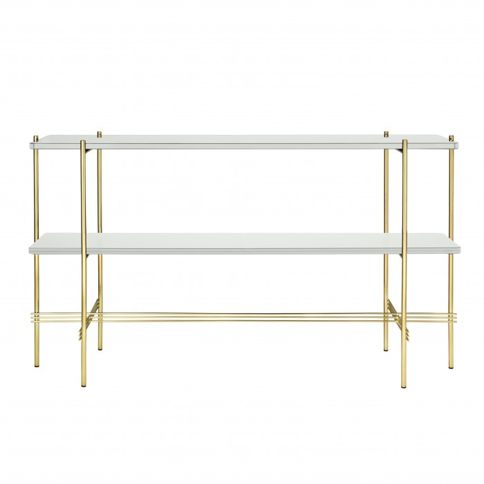 TS Console - 2 rack - white glass/brass