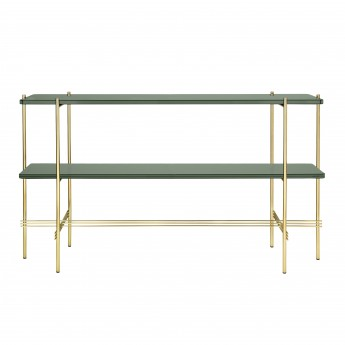 TS Console - 2 rack - green glass/brass