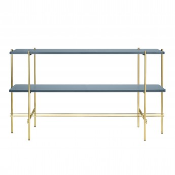 TS Console - 2 rack - blue grey glass/brass