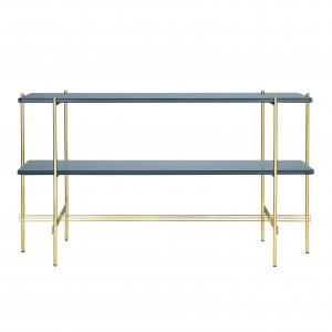 TS Console - 2 rack - blue grey glass/brass