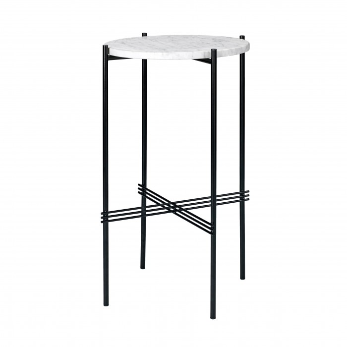 TS round Console - white marble/black