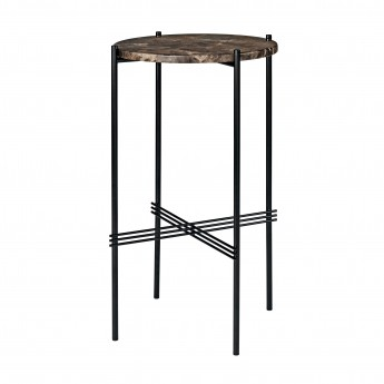 TS round Console - brown marble/black