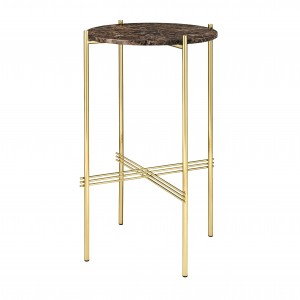 TS round Console - brown marble/brass