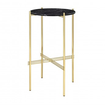 TS round Console - black marble/brass