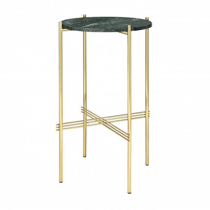TS round Console - green marble/brass