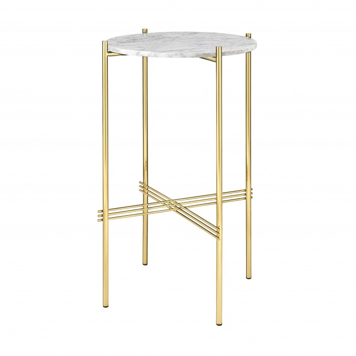 TS round Console - white marble/brass