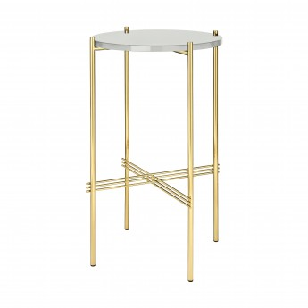 TS round Console - white glass/brass