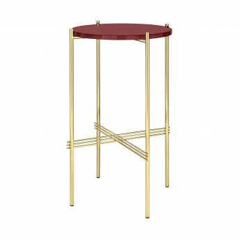 Console TS ronde - verre rouge/laiton