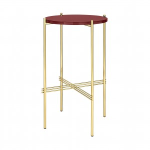 TS round Console - red glass/brass