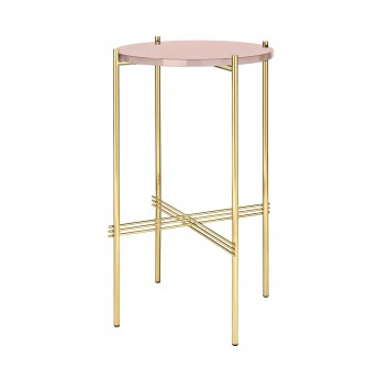 TS round Console - rose glass/brass