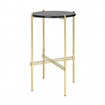 TS round Console - black glass/brass