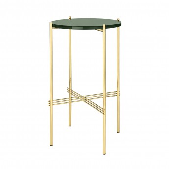 TS round Console - green glass/brass