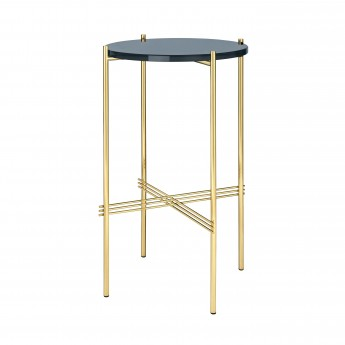TS round Console - blue grey glass/brass