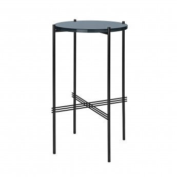 TS round Console - blue grey glass/black