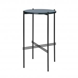 TS round Console - blue grey glass/black