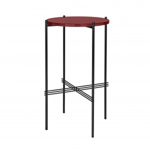 TS round Console - red glass/black
