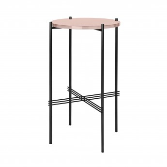 TS round Console - rose glass/black