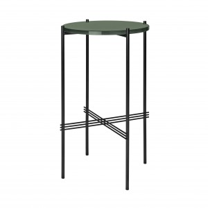 TS round Console - green glass/black