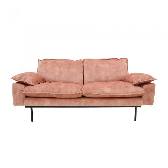 Canapé RETRO 2 places en velours vieux rose