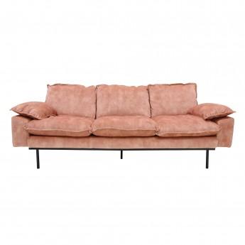 Canapé RETRO 3 places en velours couleur vieux rose