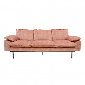 Old pink velvet RETRO 3 seater sofa