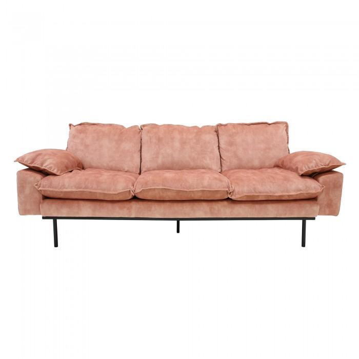 Old pink velvet RETRO 3 seater sofa