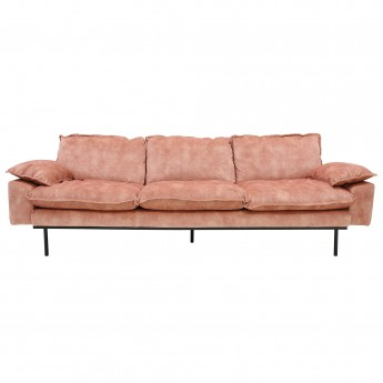 RETRO 4 seater velvet sofa old pink