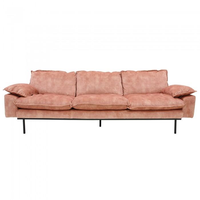 RETRO 4 seater velvet sofa old pink