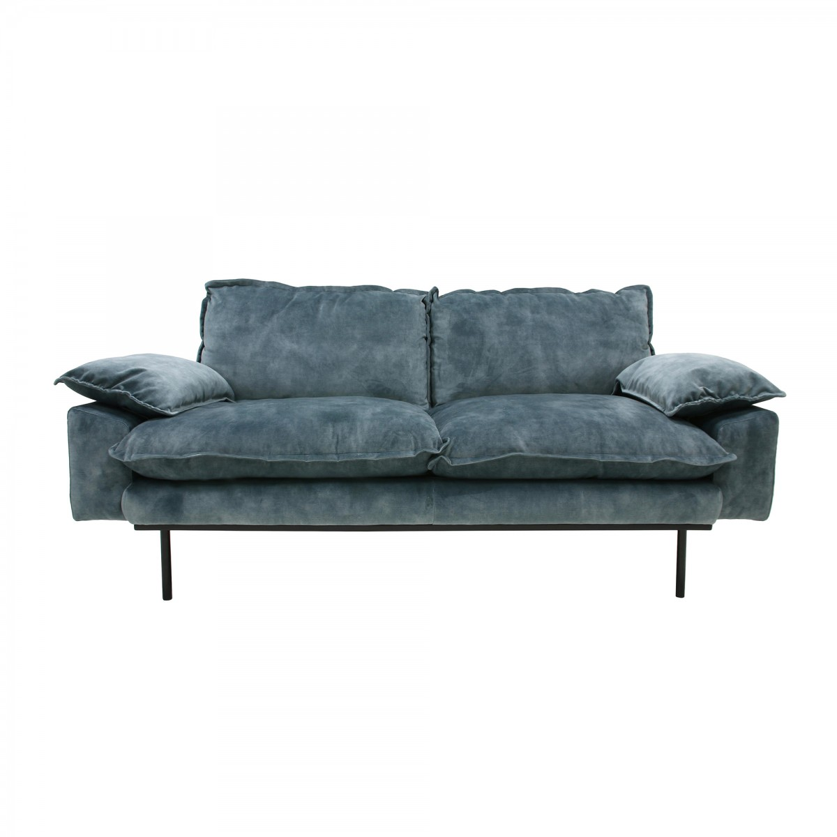Retro 2 Seater Velvet Sofa Petrol Hk Living