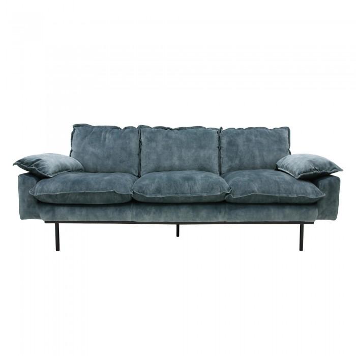 Petrol velvet RETRO 3 seater sofa