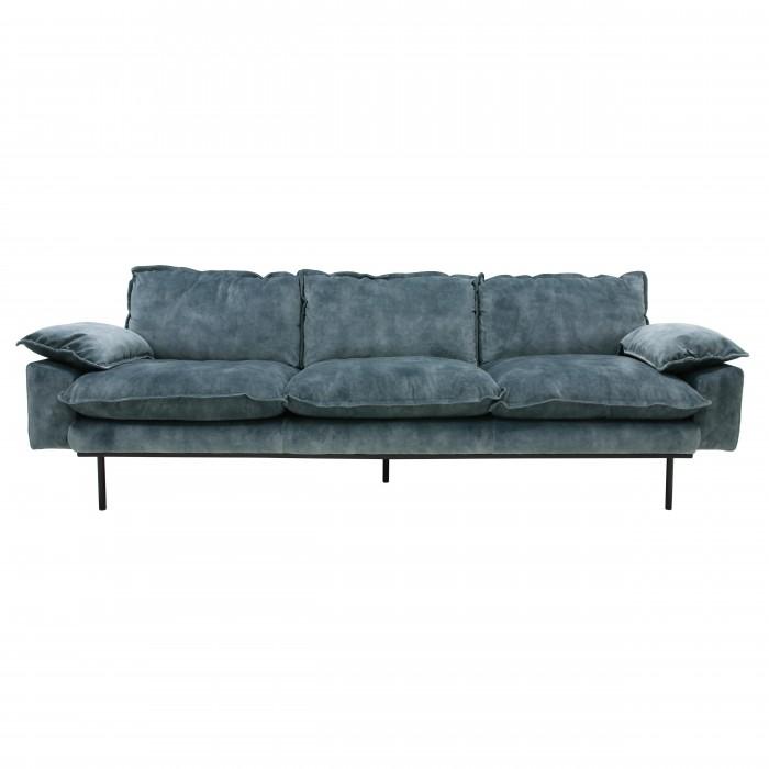 RETRO 4 seater velvet sofa petrol