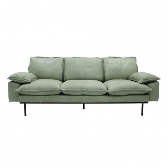 Menthe leather RETRO 3 seater sofa