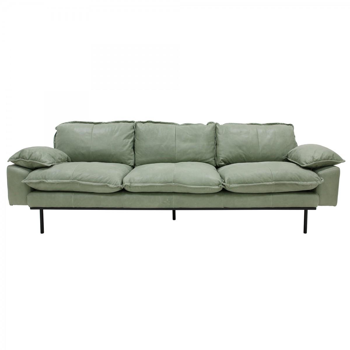 détaillant en ligne 20601 27a0d Canapé 4 places RETRO en cuir menthe - HK LIVING