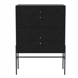 LUXE black stained oak sideboard 4 drawers