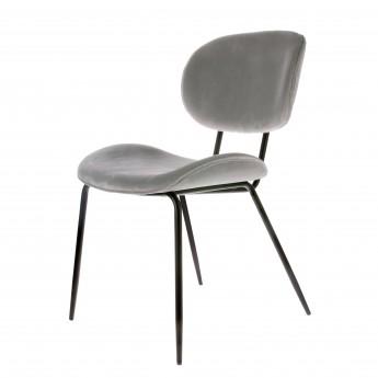 Velvet Fabric Chair - Grey
