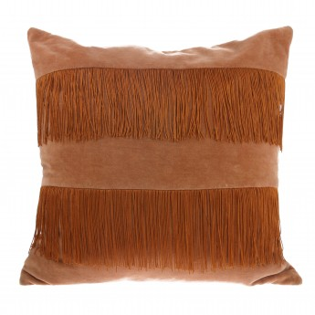 VELVET cushion with fringes