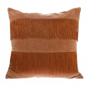 VELVET cushion with fringes