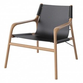 SOUL armchair oiled oak/black leather