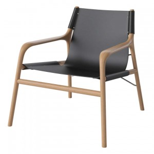 SOUL armchair oiled oak/black leather