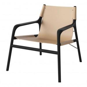 SOUL armchair black lacquered oak/nature leather