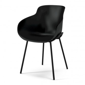 HUG black/black steel legs chair