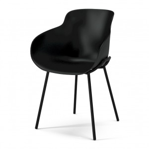 Chaise HUG noir/pieds métal