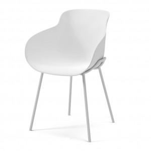 Chaise HUG blanc/pieds métal