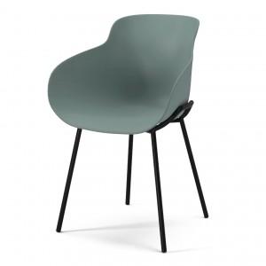 Chaise HUG vert/pieds métal