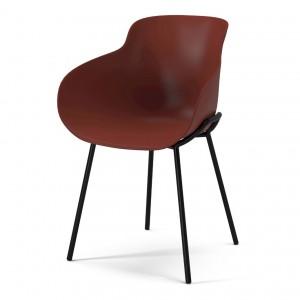 HUG red/steel legs chair