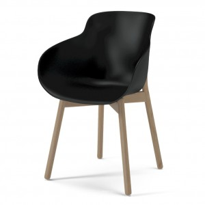 Chaise HUG noir/pieds bois