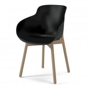 HUG black/wood legs chair