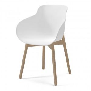 Chaise HUG blanc/pieds bois