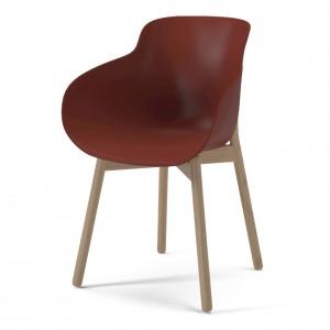 HUG red/wood legs chair