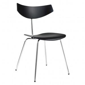 BIRD chair - Oak stained black, chrome